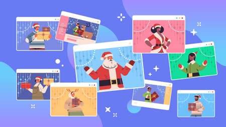 set mix race people discussing during video call happy new year merry christmas holidays celebration concept