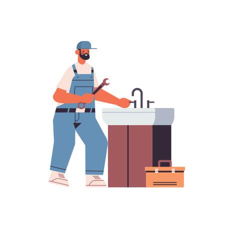 professional plumber in uniform using spanner repairing sink cleaning repair service concept