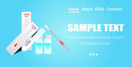 set syringe with covid-19 vaccine bottle swab nasal test and rapid cassette fight against coronavirus pandemic concept