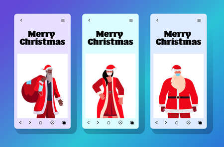 set mix race people in santa costumes on smartphone screen new year christmas holidays celebration coronavirus