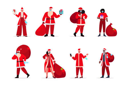 set mix race people in santa claus costumes wearing protective masks new year christmas holidays celebration