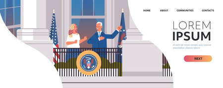 democrat winner of United States presidential election man president standing with first lady on white house balcony