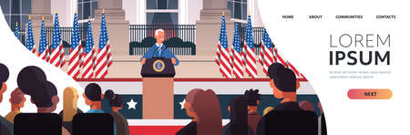 president democrat winner of United States presidential election man diving speech from tribune USA inauguration day