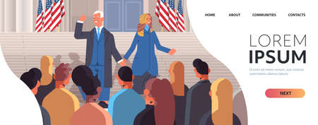 democrat winner of United States presidential election man president standing with first lady USA inauguration day Illusztráció