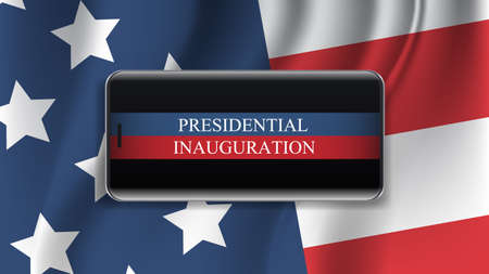 presidential inauguration day celebration concept greeting card with USA flag smartphone screen horizontal