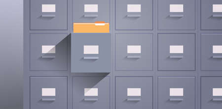 office wall of filing cabinet with open card catalog document data archive storage folders for files business administration