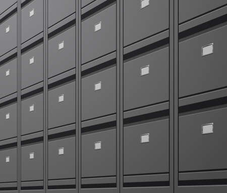 office wall of filing cabinet document data archive storage folders for files business administration concept Vecteurs