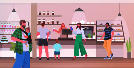 young fathers spending time with children in cafe fatherhood parenting concept Ilustrace