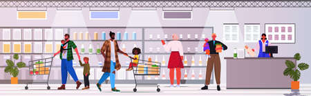 mix race fathers and children buying groceries in supermarket fatherhood parenting shopping concept