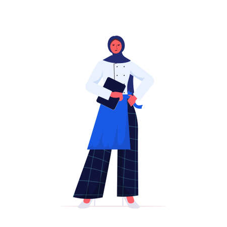 female cook in uniform arab woman chef holding tablet pc cooking food industry concept professional restaurant kitchen worker full length vector illustration