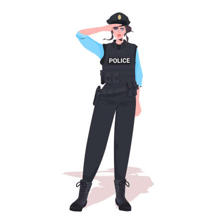 policewoman in tactical gear riot police officer standing pose protesters and demonstration control concept 向量圖像