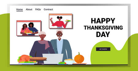 grandparents discussing with children during video call celebrating happy thanksgiving day online communication