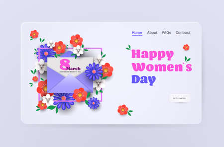 womens day 8 march holiday celebration sale banner flyer or greeting card with envelope and flowers  イラスト・ベクター素材