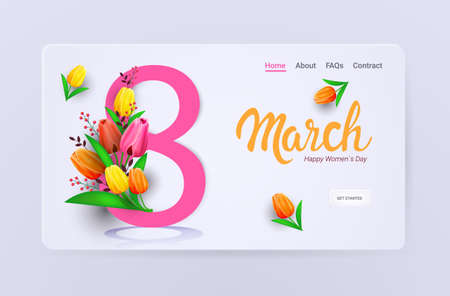 womens day 8 march holiday celebration sale banner flyer or greeting card with flowers and eight number  イラスト・ベクター素材