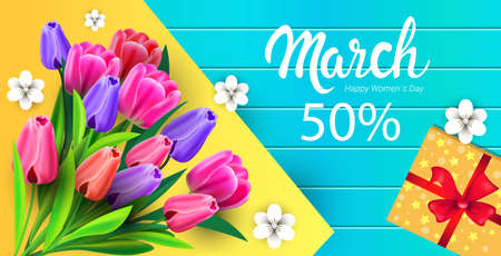 womens day 8 march holiday celebration sale banner flyer or greeting card with flowers and gift box