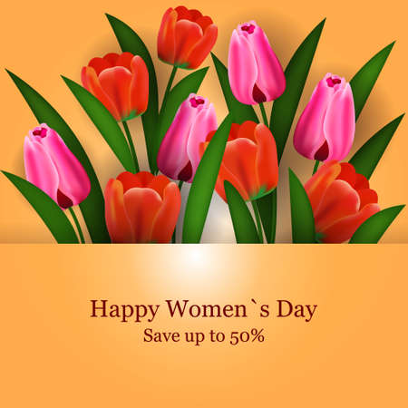 womens day 8 march holiday celebration banner flyer or greeting card with flowers