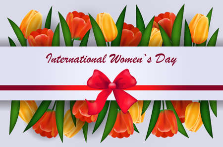 womens day 8 march holiday celebration lettering banner flyer or greeting card with flowers and bow horizontal