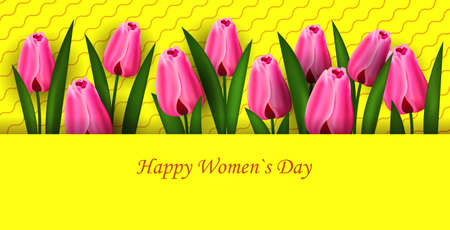 womens day 8 march holiday celebration lettering banner flyer or greeting card with flowers horizontal