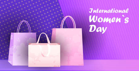 womens day 8 march holiday celebration sale banner flyer or greeting card with shopping bags horizontal  イラスト・ベクター素材