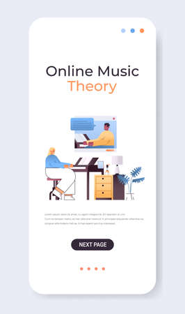 woman playing piano while watching video lessons with male teacher in web browser window online music theory
