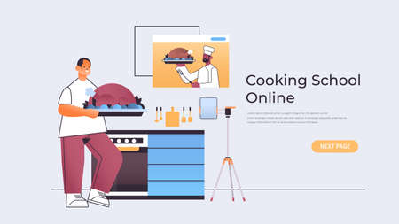man preparing turkey and watching video tutorial with male chef in web browser window online cooking school  イラスト・ベクター素材