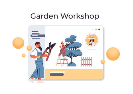 woman gardener with secateurs pruning tree branches in web browser window garden workshop online gardening  イラスト・ベクター素材
