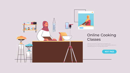 arab woman preparing dish while watching video tutorial with chef in web browser window online cooking lesson  イラスト・ベクター素材