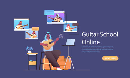 arab man playing guitar with mix race people in web browser windows during virtual conference
