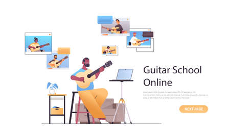 man playing guitar with mix race people in web browser windows during virtual conference online music school