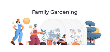 parents and daughter taking care of plants family working together in greenhouse gardening concept  イラスト・ベクター素材