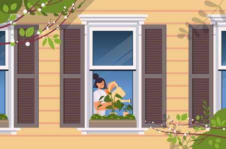 young woman holding watering can and pouring plants home gardening concept girl taking care of houseplants  イラスト・ベクター素材