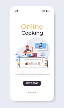 woman preparing dish girl watching video tutorial with chef in web browser window online cooking concept  イラスト・ベクター素材