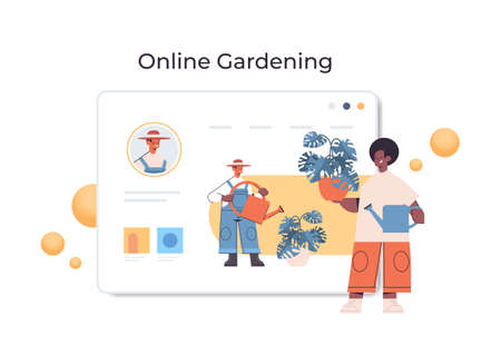 african american man gardener with watrering can pouring plants while watching virtual courses online gardening