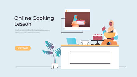 arab woman food blogger preparing cake while watching video tutorial with arabic chef in web browser window online cooking lesson concept horizontal copy space vector illustration