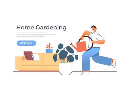 young man holding watering can and pouring plants home gardening concept guy taking care of houseplants full length horizontal vector illustration  イラスト・ベクター素材