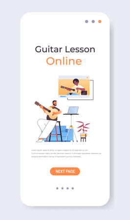 man playing guitar with african american teacher in web browser window during virtual conference online music school concept vertical copy space vector illustration
