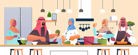 arabic chefs preparing dishes arab people cooking food culinary school concept kitchen interior horizontal portrait vector illustration  イラスト・ベクター素材