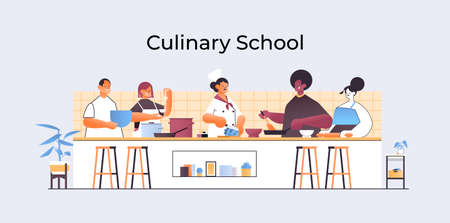 mix race chefs preparing dishes people cooking food culinary school concept kitchen interior horizontal portrait vector illustration