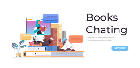 arabic students reading and chatting books with female arab teacher in web browser window online book club concept horizontal copy space vector illustration
