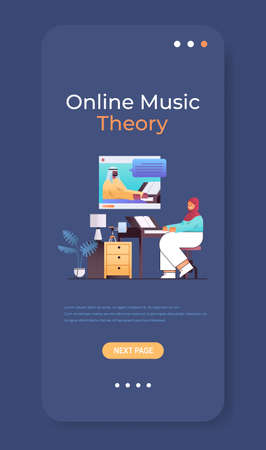 arab woman playing piano while watching video lessons with teacher in web browser window online music theory