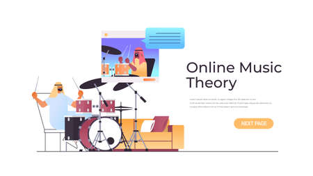 arab man playing drums while watching video lessons with arabic teacher in web browser window online music theory
