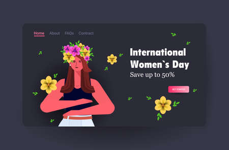 young girl celebrating international womens day 8 march holiday celebration concept sale banner