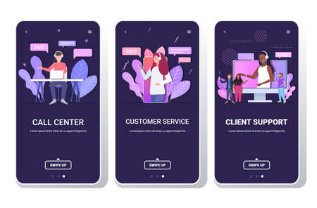 set helpline operators with headset technical client support customer service call center concept smartphone screens collection mobile app portrait copy space horizontal Vetores