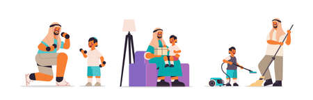 set arab father spending time with little son parenting fatherhood friendly family concept