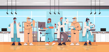 mix race scientists developing vaccine to fight against virus researchers team working in medical lab Vektorové ilustrace