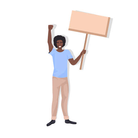 african american man protester holding blank protest poster guy with vote placard demonstration speech political freedom concept full length