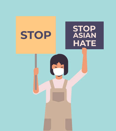 stop asian hate girl in mask holding banners against racism support people during pandemic