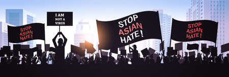 stop asian hate people silhouettes holding banners against racism support during pandemic