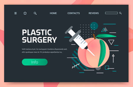 fresh peach with syringe hyaluronic acid injection medical cosmetological anti-aging procedure plastic surgery concept horizontal copy space Ilustração Vetorial