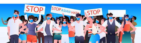 stop asian hate people in masks holding banners against racism support during pandemic concept